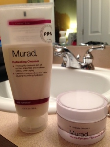 We were traveling somewhere and I forgot my cleanser and moisturizer. I went to Sephora and they hooked me up with Murad. It ain't cheap but I've had it for about 5 months and you see how much I've used. And I use it everyday! So the first thing I did was wash and moisturize my face.